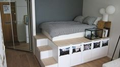 Ideas Ikea Storage Hacks Bedroom Platform Beds For 2019 Bedroom Loft, Home Bedroom, Home Living Room, Bedroom Ideas, Loft Beds, Bunk Bed, Bedroom Decor, Living Room Storage, Bedroom Storage