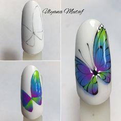 Fancy Nails, Diy Nails, Cute Nails, Nail Drawing, Butterfly Nail Art, Animal Nail Art, Gel Nagel Design, Nails Design With Rhinestones, Cute Nail Art Designs