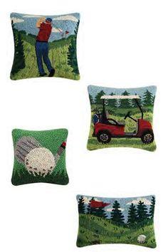 Golfer, Golfer Cart, Club & Ball, and Golf Pin Flag & Ball Hook Pillows by Peking Handicraft Handicraft, Cart, Flag, Golf, Throw Pillows, Gifts, Craft, Covered Wagon, Toss Pillows