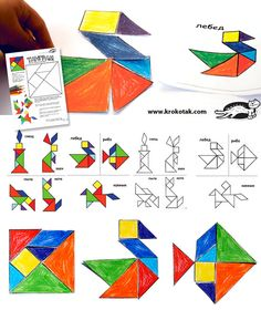 children activities, more than 2000 coloring pages Tangram Puzzles, Shape Crafts, Fun Math, Maths, Ancient China, Pattern Blocks, Fabric Painting, In Kindergarten, Preschool Activities