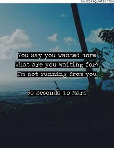 30 Seconds To Mars The Kill: You say you wanted more What are you waiting for? I'm not running from you - Lyrics As Quotes