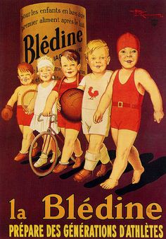 French Art Deco Poster for La Bledine Football Cycling Tennis