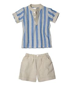 This Masala Baby Blue Stripe Chambray Tabla Tunic & Shorts - Infant by Masala Baby is perfect! #zulilyfinds