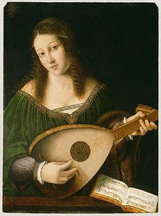 Bartolomeo Veneto, Lady Playing a Lute (about 1530). Women and Music in Painting 16-18th c