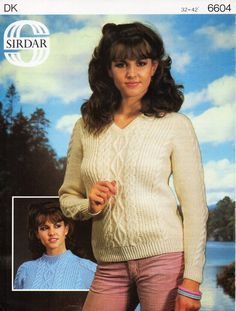 """Vintage ladies aran sweater knitting pattern PDF DK womens cable jumper v or round neck 32-42"""" DK light worsted 8ply Instant Download by Hobohooks on Etsy"""