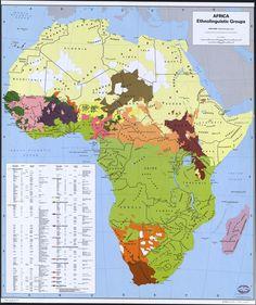 Mapa de grupos étnicos de África.