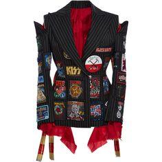 Dilara Findikoglu     Pinstripe Band Badge Jacket found on Polyvore featuring outerwear, jackets, navy, patchwork blazer, navy pinstripe jacket, blazer jacket, navy blazer and embellished blazer