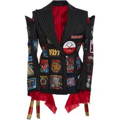 Dilara Findikoglu     Pinstripe Band Badge Jacket ($1,555) ❤ liked on Polyvore featuring outerwear, jackets, navy, embellished blazer, patchwork jacket, pinstripe jacket, patchwork blazer and navy blue blazer