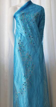 Vietnamese Traditional Dress AO Dai Bridal Wedding Gown Blue Flowergem ...