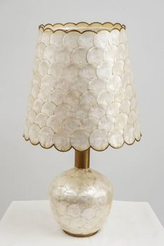 Glam Capiz Shell Table Lamp With Brass Detail, 1970s
