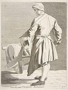 Vinegar Seller, Anne Claude de Tubieres, after Edme Bouchardon, etching with…