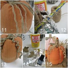 easy no sew shirt pumpkins, crafts, repurposing upcycling, seasonal holiday d cor, Add all the extra pumpkin y touches tendrils and leaves and taa daa More details here