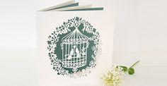 Beautiful laser cut vintage bird cage invitations