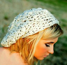 Cream Hat Crochet Slouch Beanie for Teens Womens by foreverandrea, $40.00