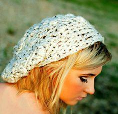 Cream Hat Crochet Slouch Beanie for Teens Womens by foreverandrea, $40.00