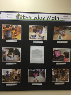 Documentation boards allow learning to become visible. Through them, families get a glimpse of our engaging, hands-on math experiences. Maths Display, Classroom Displays, Classroom Ideas, Inquiry Based Learning, Project Based Learning, Reggio Emilia, Reggio Documentation, Ec 3, Emergent Curriculum