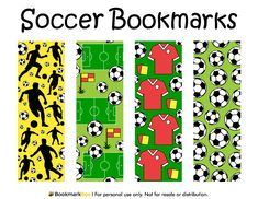 Free printable soccer bookmarks. Download the PDF template at http://bookmarkbee.com/bookmark/soccer/