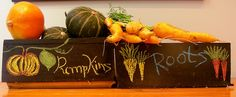 Super cute pantry harvest boxes made with shipping pallets and chalkboard paint.