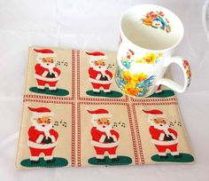 Two Small homemade Christmas gifts, Mug Rugs, Xmas Cup Coasters, Candle Trivets…