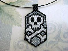 Skull Peyote Pendant Beadwork Seed Bead Cool by MadeByKatarina, $15.00
