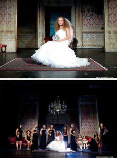 Loving these dramatic theater wedding photos by Jeramie Lu Photography // via onthegobride.com