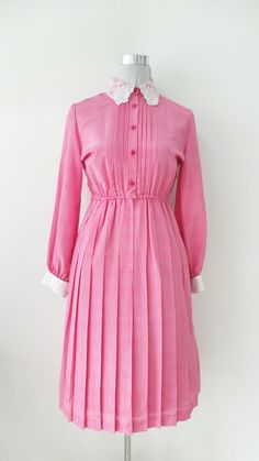 Vintage Dress, 80's Japanese Collar Dress, Pink in Color by UsFaminnile on Etsy