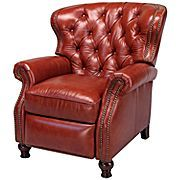 Cognac Button Tufted Leather Recliner