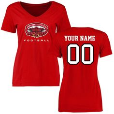 Jacksonville State Gamecocks Women's Personalized Football Slim Fit T-Shirt - Red