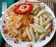 Sertéshúsos ételek a Mindmegette recepttárban Penne, Lunch, Meat, Chicken, Tableware, Kitchen, Recipes, Food, Dinnerware