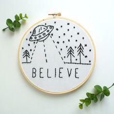 "Ready To Ship! Believe 6"" UFO Embroidery Hoop / Hoop Art Wall Art Home Decor"