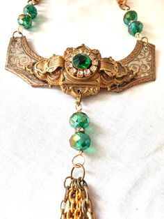 Upcycled Vintage Tin and Emerald Brooch by thesassytrashionista