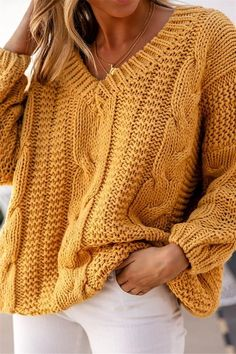 Yellow Cable Knit Loose Pullover Sweater – Jassie Line Handgestrickte Pullover, Pullover Sweaters, Casual Sweaters, Sweaters For Women, Striped Sweaters, Chunky Knits, Oversized Sweaters, Winter Sweaters, Vintage Sweaters