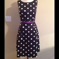 WHBM Polkadot dress w/ purple belt Full skirt, sleeveless polkdot dress. Purple lining and edging around hem ends just below knee. Worn once. Optional purple rose belt for an additional price. Could be bundled together if desired. White House Black Market Dresses