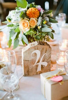 hand-painted wood block table numbers / birdsofafeatherphoto.com