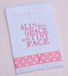 Burp Cloth All of God's Grace Pink by elainestiarasntutus on Etsy