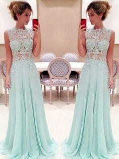 Stunning Lace High-neck Long Chiffon Light Sky Blue Prom Dress