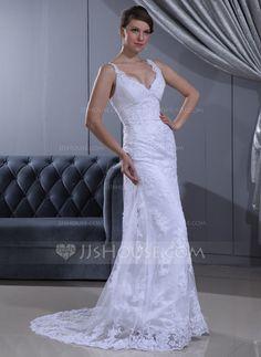 Sheath/Column V-neck Sweep Train Lace Wedding Dress With Ruffle Beading (002011630)