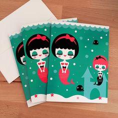 Mermaid Sisters Note Cards - Set of Three