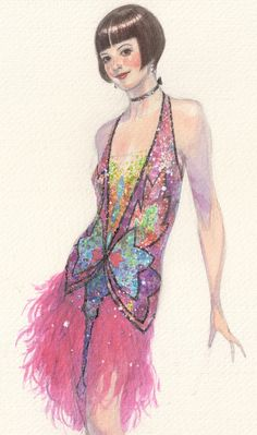 "Melanie Harris - Contrast between sequin bodice and feather skirt"" ""MILLIE"" original design sketch by Robert Perdziola for Sutton Foster Theatre Costumes, Ballet Costumes, Renaissance Dresses, Fashion Line, Fashion Art, Art Nouveau, Shows, Historical Costume, Fashion Sketches"