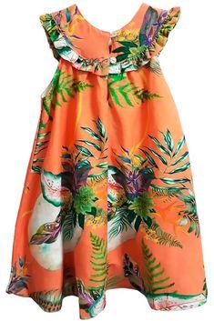 Vestido infantil Laranja coral flores 100% viscose - Mundo céu - Kids na Net - A sua Loja online de Roupas de Crianças e Bebês