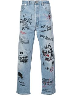 Diy Jeans, Jeans Refashion, Diy Fashion, Ideias Fashion, Fashion Outfits, Fashion Design, Painted Jeans, Painted Clothes, Diy Clothing