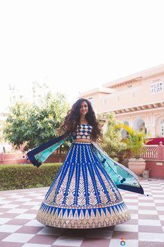 Twirling Bride - Royal Blue Lehenga with Silver Embroidery and Aquamarine Dupatta | WedMegood  #twirlingbride #royalblue #silver #embroidery #aquamarine