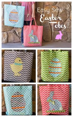 Perfect Easter totes for Easter egg hunts! | Fabric from Joann.com | Project by @Adrienne {FreeTimeFrolics.com}