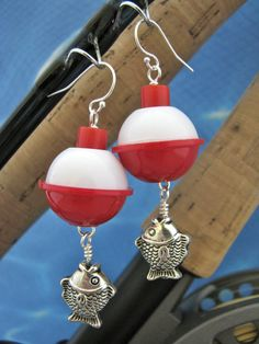 Fish Bobber Earrings  Fish Jewelry  Fishing by BlueMonkeyBling, $14.99