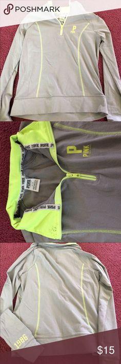 Victoria's Secret half zip PINK Half zip grey and yellow sweatshirt. Has slight black spot on collar (pictured above) size small PINK Victoria's Secret Jackets & Coats
