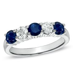 Blue Sapphire and 3/8 CT. T.W. Diamond Five Stone Band in 14K White Gold - Zales