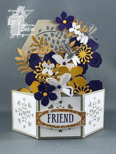 Colour INKspiration, Hexagonal Base Pop-Up Card, Botanical Builders Framelits, Stamping Up! Pop Up Box Cards, 3d Cards, Stampin Up Cards, Card Boxes, Fancy Fold Cards, Folded Cards, Arte Pop Up, Hexagon Box, Exploding Box Card