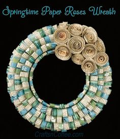 Beautiful, DIY spring wreath made with scrapbook papers and book page roses. DIY on CraftsnCoffee.com.