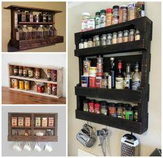 Bricolaje de madera de palets estante de especia .... para su cocina!