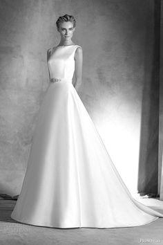 pronovias atelier haute couture 2016 ianira sleeveless a line satin wedding dress bateau neckline #satinweddingdresses